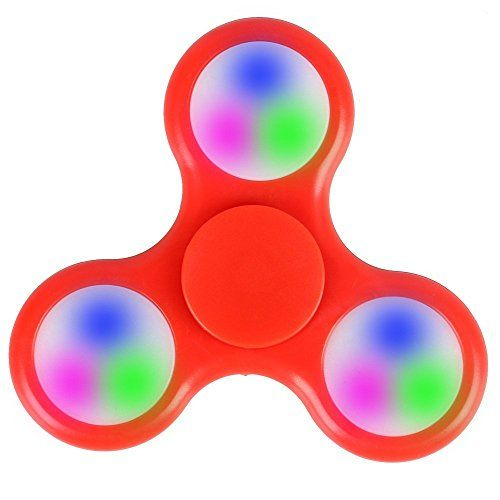 Tri Fidget Hand Spinner Ultra Fast Bearings Finger Toy Great Gift (Red LED Light)
