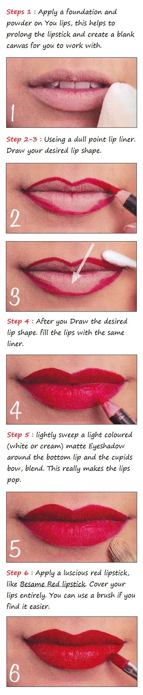 Perfect red lips tutorial.