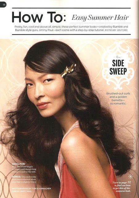 Side sweep wavy hair