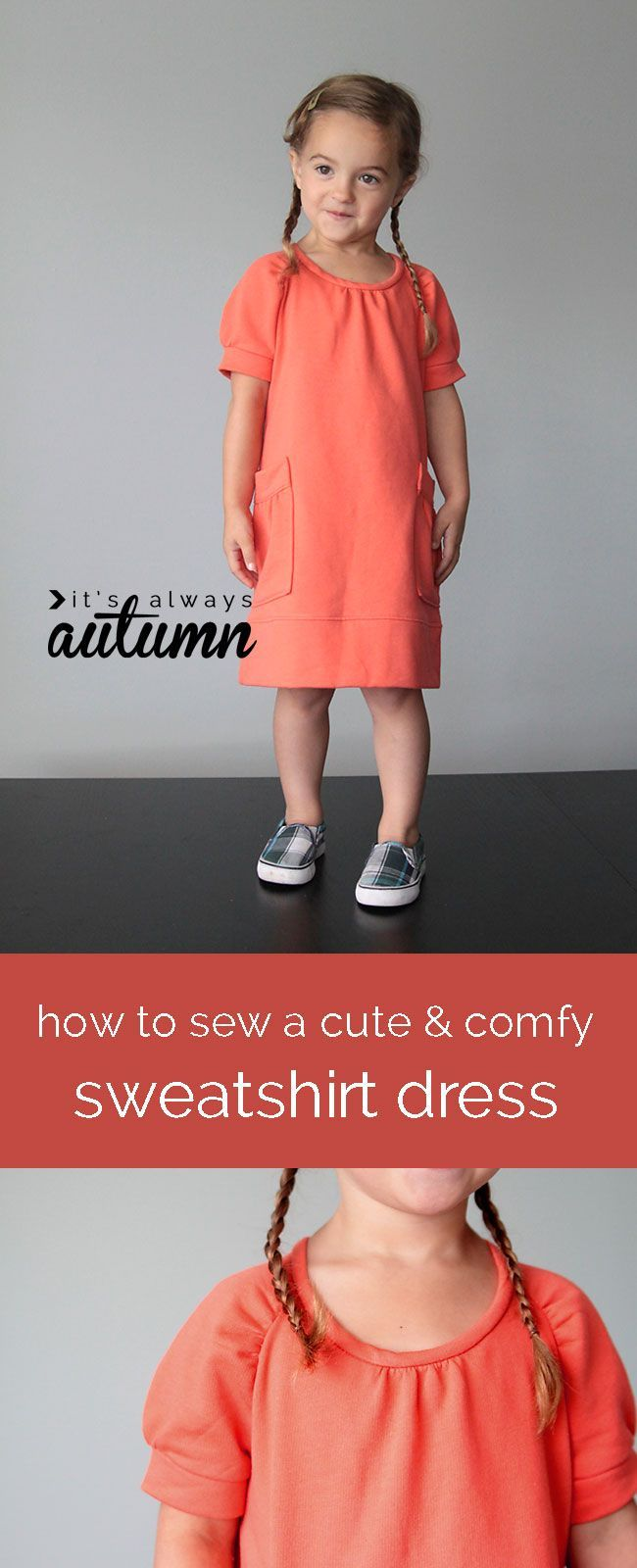 love this girl's sweatshirt dress! easy sewing tutorial with step by step photos.
