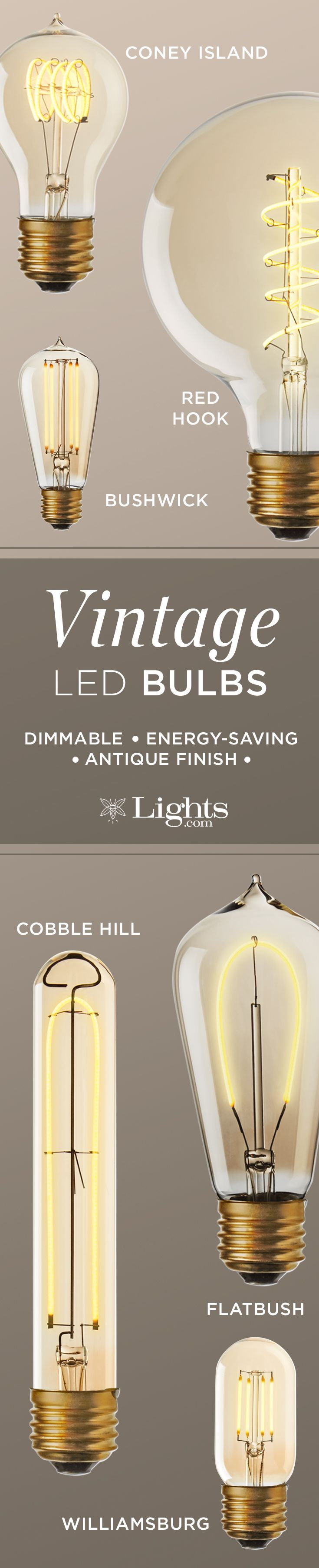 Stylish Energy Saving Tips | Turn-of-the-century Edison bulbs with modern LED technology. Get the vintage inspired look for your lighting while saving energy. Never change a bulb again!