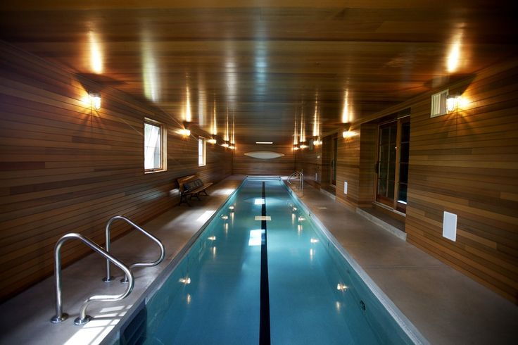 The home features a workout room and 57-foot-long lap pool in the basement.