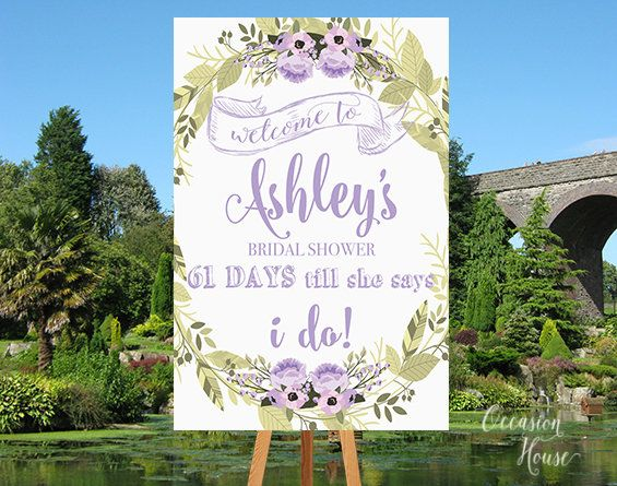printable purple woodland country bridal shower sign days till she says i do countdown