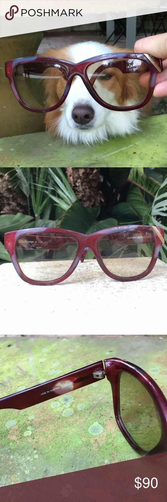 Vintage Silhouette Sunglasses Designer: Silhouette - purple and blue acetate with gold detail- made in Austria - storage scratches on lenses but still ok to see - Celine style sunglasses Accessories Sunglasses