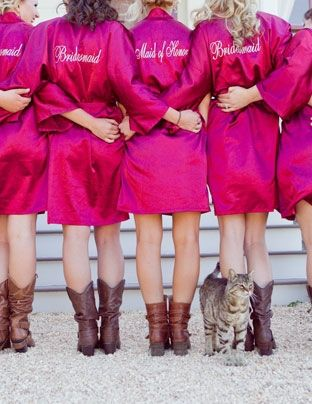 """Bridesmaid gift idea: Robes with """"Maid of Honor"""" or """"Bridesmaid"""" sewn on the back ... to wear while getting ready before the wedding."""