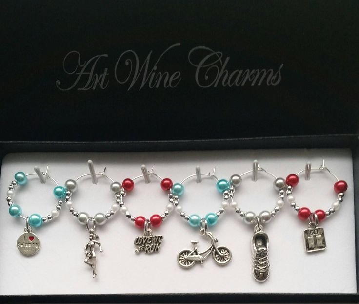 6 Fitness themed Wine Charms, Personal Trainer, Fitness Training, Running, Themed Party, Party Favors, Cycling, Swimming, Triathlon, Gift by PickinsGalore on Etsy