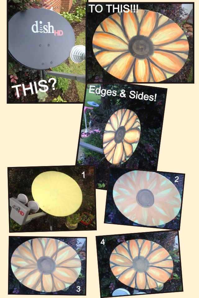DIY satellite makeover  #satellite #sunflower #dishnetwork #repurpose #yardart #gardenart #diy  WALMART CRAFT PAINT!!!!  KRYLON LEAR COAT.  Do NOT NOT NOT use SHINEY paint if the satellite is in use (ours is).  It will mess with reception.  I called and got PERMISSION to paint.  Dish network allows it!!!