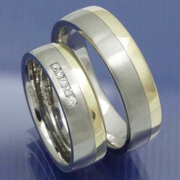 Gold und Steel Trauringe Edelstahl und 585 Gelbgold R501 PB209771