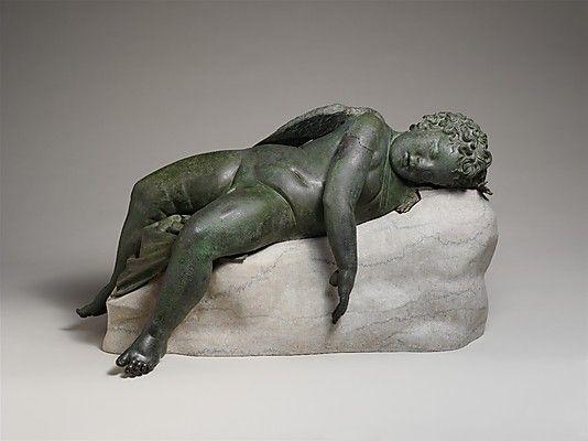 Greek bronze statue of a sleeping Eros, Hellenistic, 3rd-2nd century BC. The Metropolitan Museum of Art, New York.