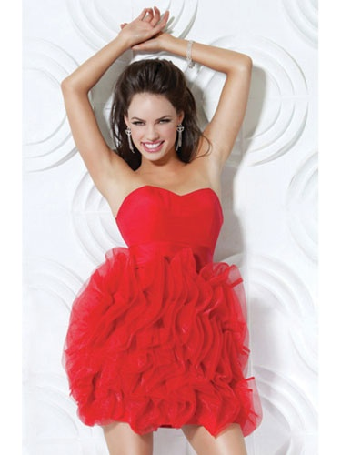 Short, Red Dress with Tulle Skirt