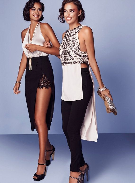 (Left) Bebe Halter Surplice Bodysuit and Lace Peekaboo Midi Skirt (Right)  Bebe Embellished Side Open Tunic and Kirstie Pintuck Pants