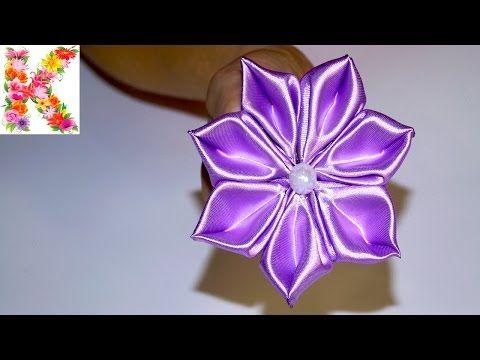 Цветы из атласных лент в стиле канзаши.Канзши для начинающих.kanzashi flower tutorial - YouTube