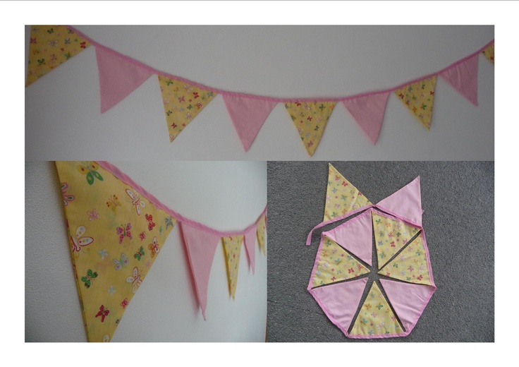 Pink and Yellow Butterfly Buntings 9 Flags $20.00