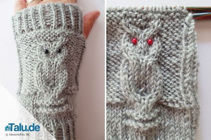 Armstulpen stricken – einfache DIY-Anleitung für Eulenmuster