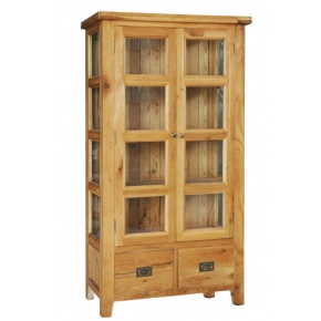 Vancouver Oak Va002 Display Cupboard Bookcase With Two Glazed Tempered Gl Doors Www Easyfurn