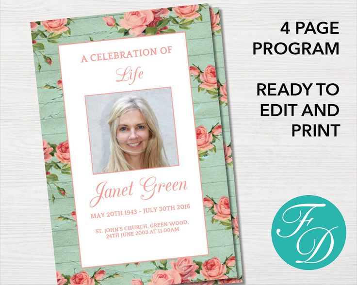51 best Pink Funeral Program Templates images on Pinterest Templates - funeral program template microsoft