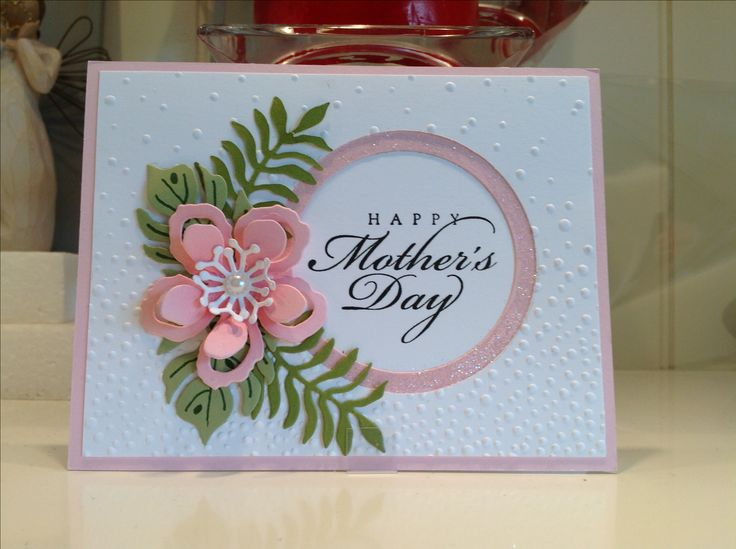 Happy Mothers Day card using Stampin Up Botanical Blooms framelits . Created by Irene Sims