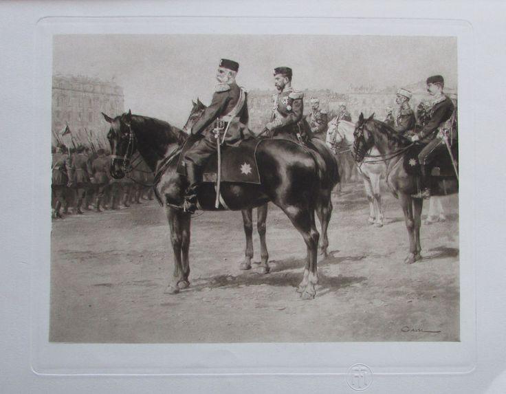 Franz Joseph I Nikolaus II Parade Marsfelde St Petersburg - Heliogravur aus 1908