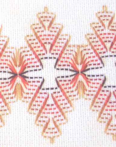 Huck Embroidery Detail - author suggests developing pattern from the picture