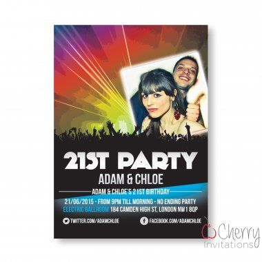 Funky Nightclub Photo Insert Themed Single Sided Personalised Birthday Invitations - From as little as £0.41 per card - Including free envelopes and delivery on all orders!