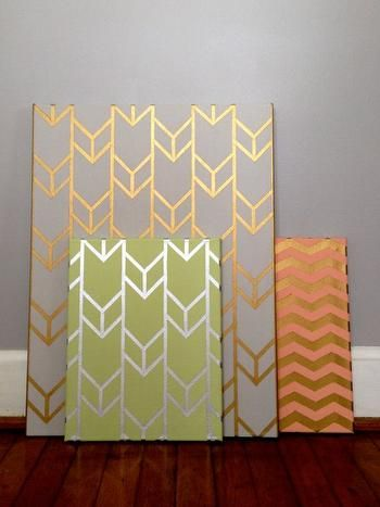 DIY Metallic-Designed Canvas 1. Spray paint selected canvas gold 2. Use painter's tape and create desired design 3. Once covered with design, spray paint in a different color 4. Carefully peel off the painter's tape and let dry