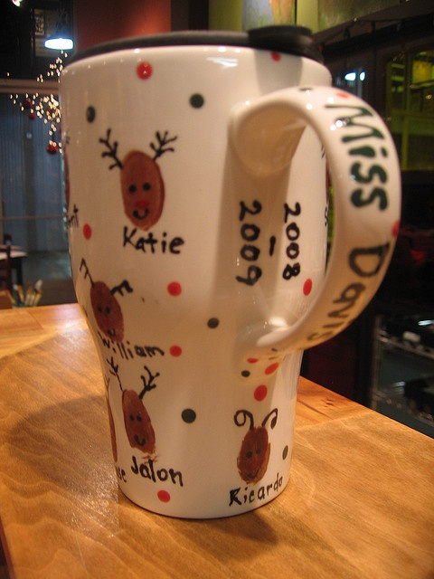 """Christmas Teacher Gift--""""From your little Deers"""" painted on the bottom"""