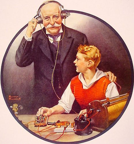 1920 - Listening to Wireless - by Norman Rockwell