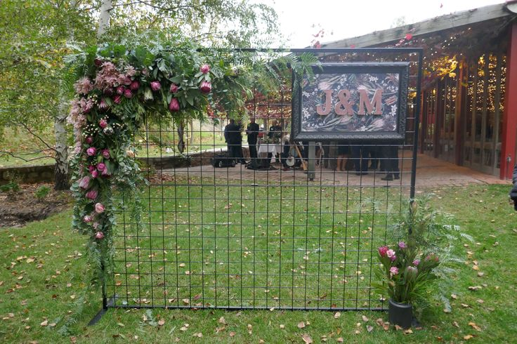 Native and pink photo wall for Adelaide wedding
