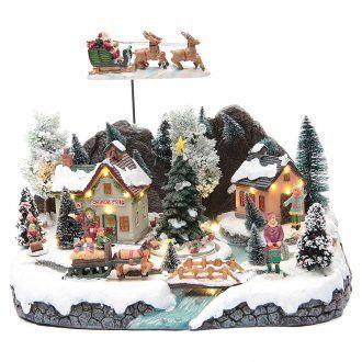 Villaggio invernale slitta Babbo Natale 30x25x25 cm