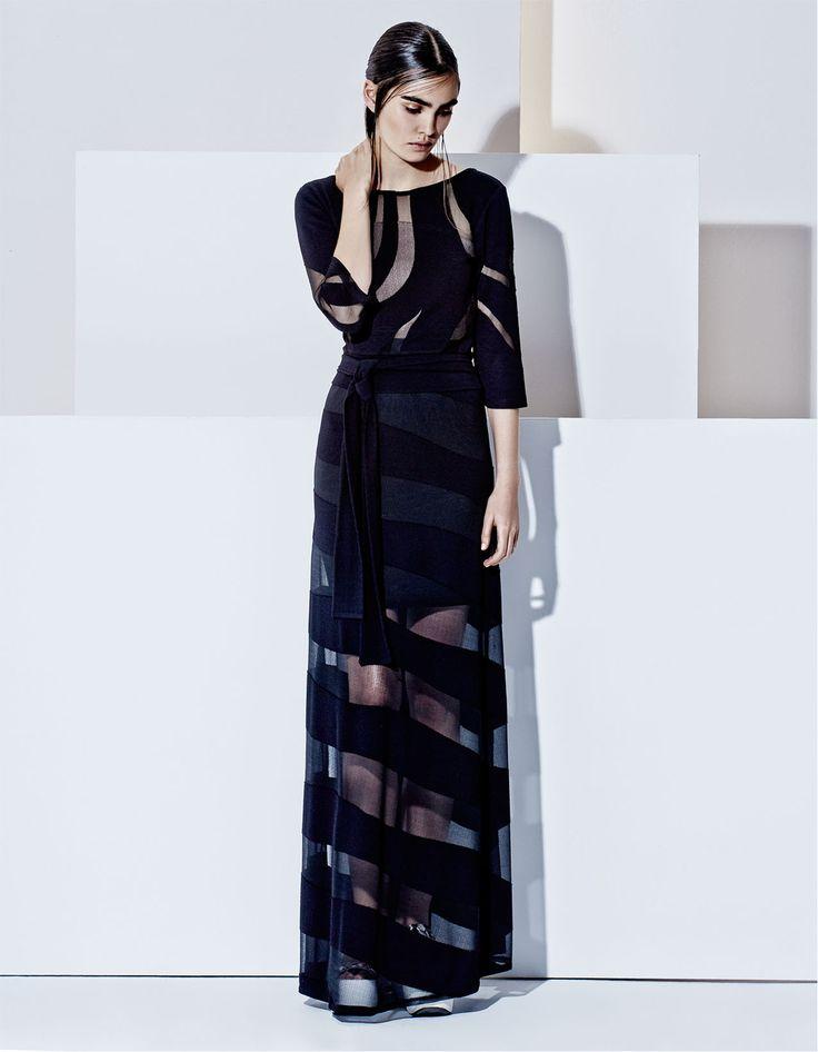 Elegant semi trasparent blouse and skirt, futuristic style