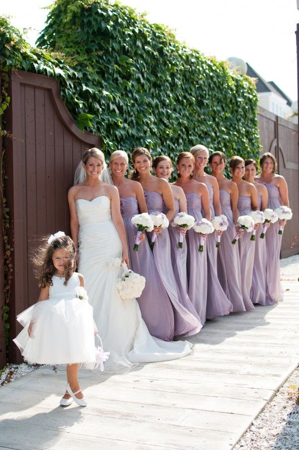 long bridesmaids dresses-some flowers in bouquet color of dress