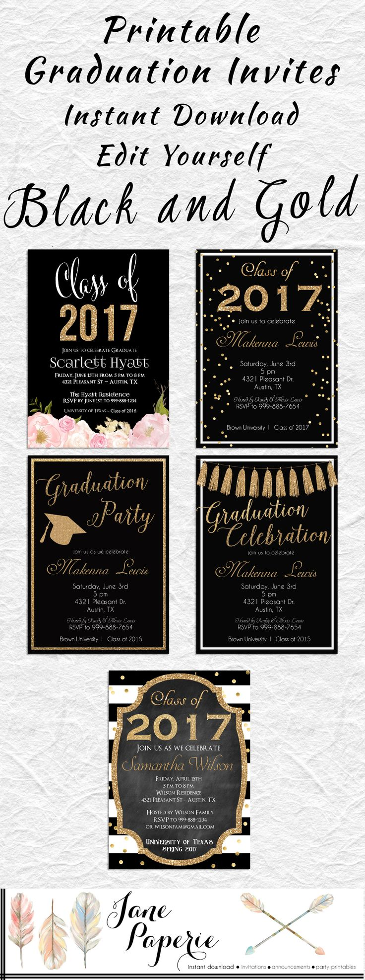 Celebrate your Grad with these gorgeous black and gold floral Printable Graduation Invitations!    INSTANT DOWNLOAD - 2017 Graduation Party Invitation - Floral Graduation - High School Graduation - Class of 2017 - Open House Invitation. Find more coordinating printables at JanePaperie: https://www.etsy.com/shop/JanePaperie
