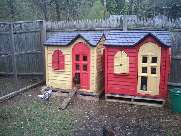 Up-cycled Playhouse Chicken Coops - Kids outgrown their playhouse? Spray-paint the exteriors, covered the floor with linoleum flooring, secured the houses to the pallets with L brackets, caulk spaces that would leak or allow a draft, insert two roosts, cover the windows with chicken wire, and cut out part of the door for the ramp. Total cost for each was around $30.00!
