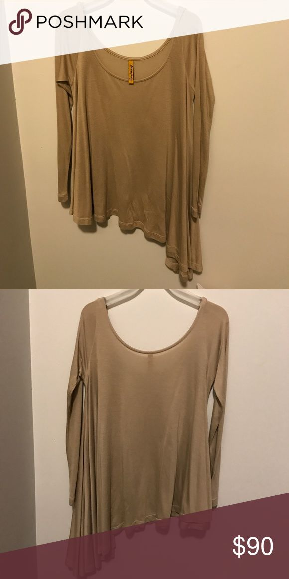 Nude Long Sleeve Top. Angled bottom. Size S. Long sleeves are tight and off the shoulder style. Light fabric. Part of RACHEL PALLY collection. Worn once. Rachel Pally Tops Blouses