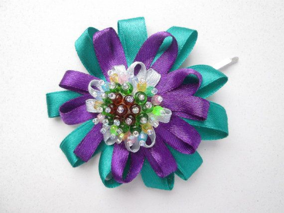 Miss Violet & Green Flower Beaded by MadiReShop on Etsy