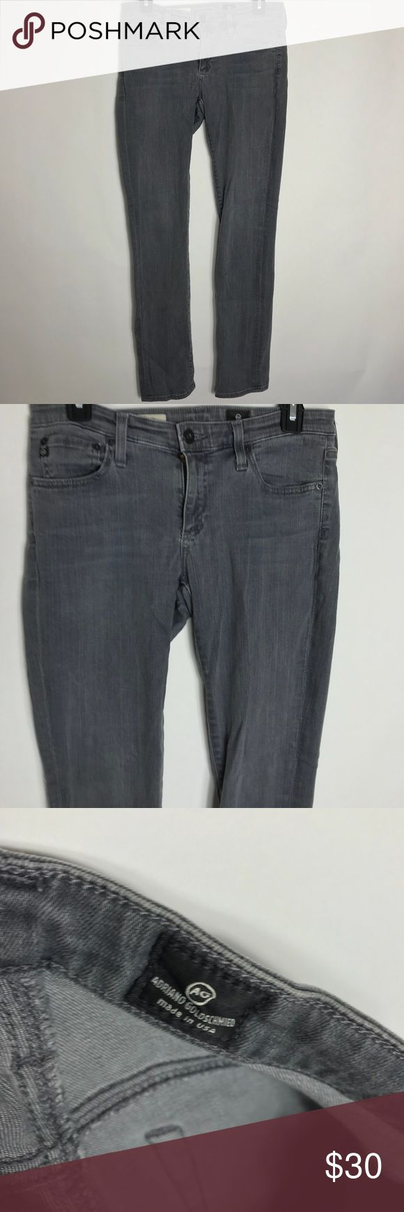 "AG Adriano Goldschmied The Stevie SlimAnkle Jean AG Adriano Goldschmied The Stevie Slim Straight Ankle Jean in Gray Size 28R gently used condition. smoke free home  inseam 31"" waist 15"" rise 8"" Ag Adriano Goldschmied Jeans Skinny"