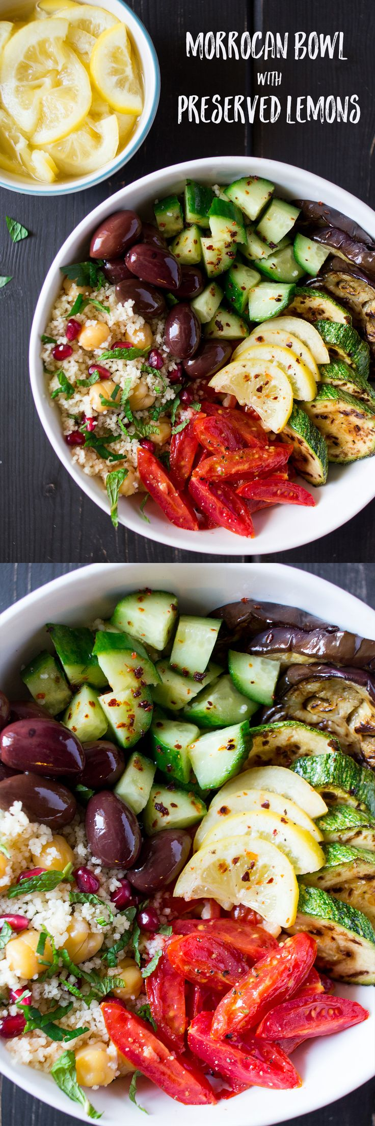 (tomato, cucumber, zucchini, mint, pomegranate, garlic, lemon) use extra zucchini in place of eggplant. #vegetarian