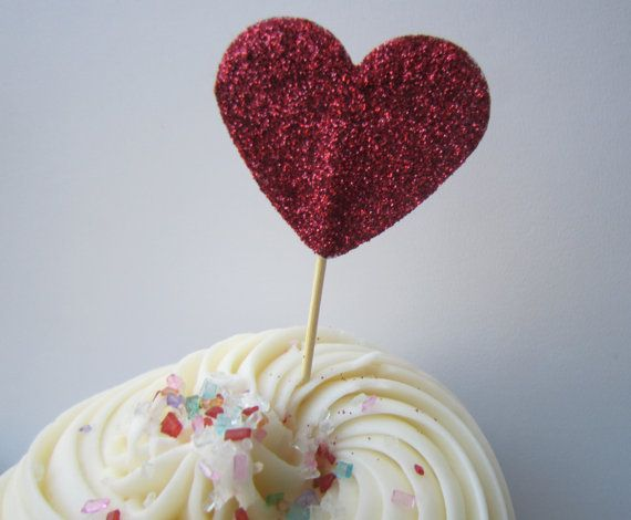 Glitter Red Heart Cupcake Toppers. 20 pieces by BerrysCreations, $12.00