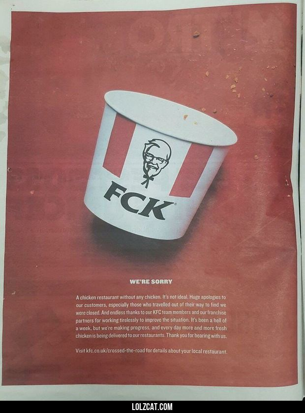 KFCs apology in the Sun newspaper due to the chicken shortage#funny #lol #lolzcat