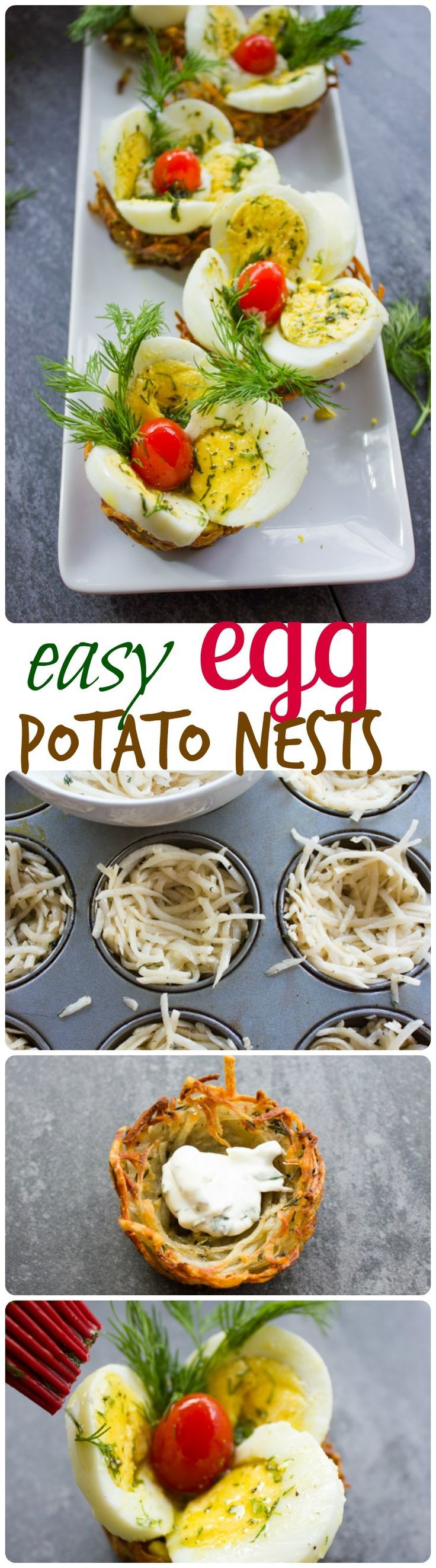 Easter Egg Tart Potato Nests. This fancy looking perfect Easter egg appetizer lis Quick and Easy, and makes a perfect brunch table! Gluten free and only 80 calories! Recipe with step by step photos to prepare this in a snap! #Eastertaining www.twopurplefigs.com