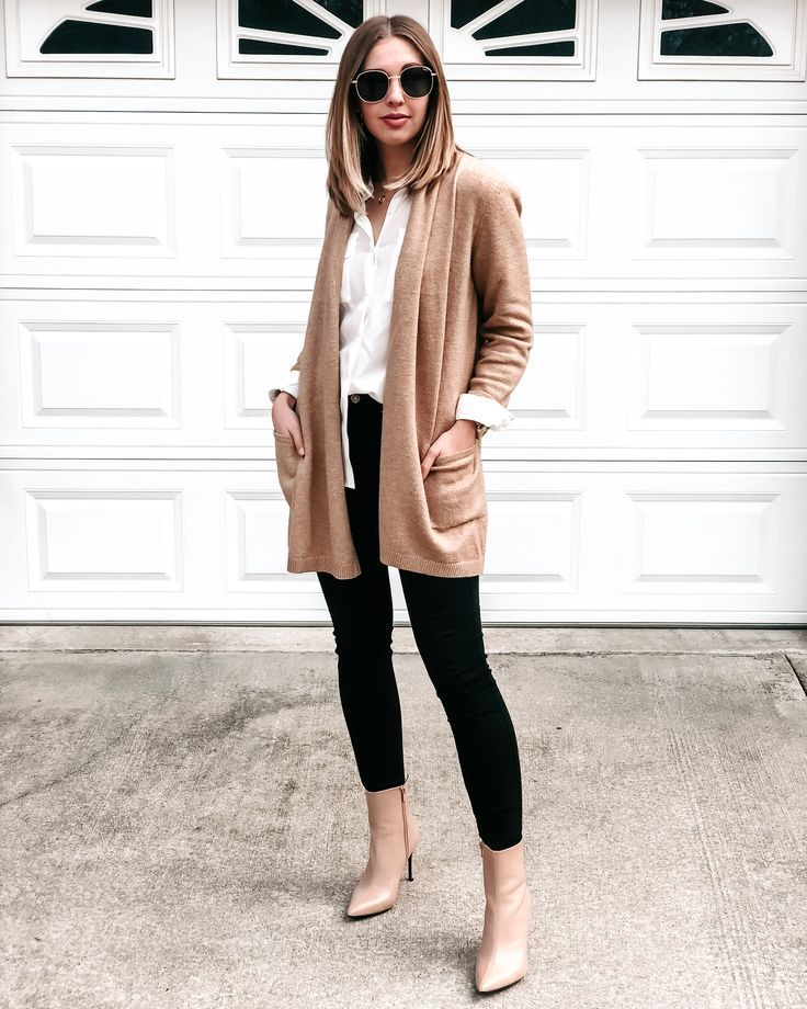 Mixed neutrals for a simple and chic outfit – camel cardigan, nude booties, quay…