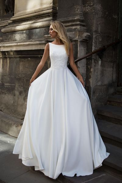 Round Neck Spaghetti Straps Wedding Dress,Lace Top White Satin Bridal Dress from Show Fashion