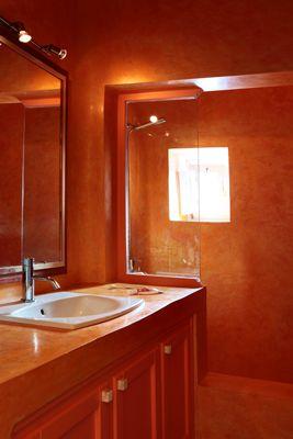 Cob-Orange-Bathroom-Mirror-Closets-Shower-Minimal-Santorini-Island-Greece