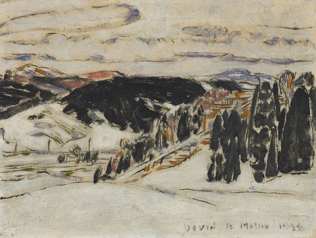 """Steps to the Ski Jump,"" David B. Milne, 1928, oil on canvas, 12.2 x 16.2"", National Gallery of Canada."