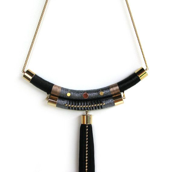Contemporary Textile Beaded Rope Necklace by TangeloTree