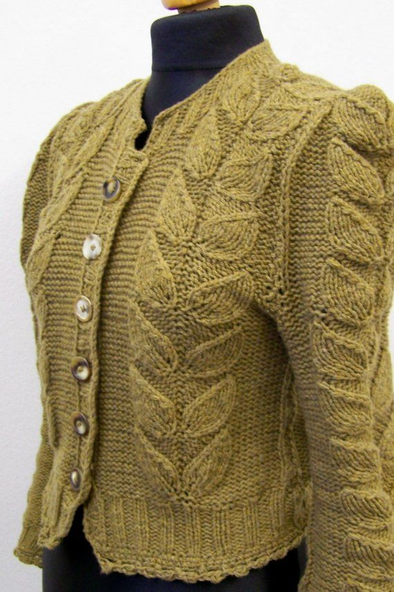 sweater retro style knitted leaves by Wollarium on Etsy, $200.00