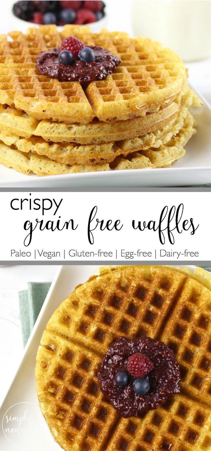 Crispy Grain-free Waffles | Say good-bye to tasteless frozen waffles from a box and helllllooooo to the crispy grain-free waffles of your breakfast dreams | Paleo | Vegan | Gluten-Free |