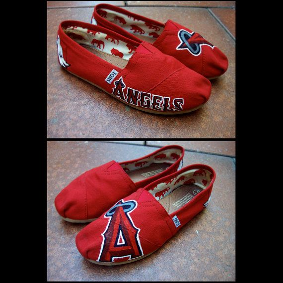 Angels Baseball team hand painted shoes by ChromaSouls on Etsy
