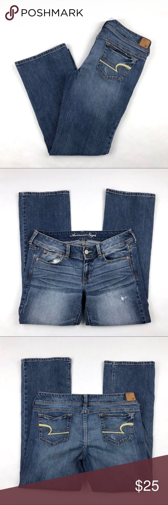 """American Eagle Slim Boot Jeans Size 12 Short American Eagle Slim Boot Jeans  Size 12 Short Distressed Medium Wash Materials: 98% cotton, 2% spandex Pre-owned in excellent condition  Actual measurements taken laying flat: waist- 16.5"""" rise- 8"""" inseam- 29.5"""" leg opening- 8.5""""  Location- E5 American Eagle Outfitters Jeans Boot Cut"""