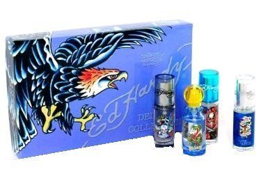 Ed Hardy by Christian Audigier, 4 Piece Mini Deluxe Collection for men by Christian Audigier. $23.99. Product:Ed Hardy. Design House:Christian Audigier. Deluxe Collection includes: Love & Luck, Hearts and Daggers, Born Wild and Villain. All .25 oz mini Eau De Toilette Sprays.. Save 68% Off!